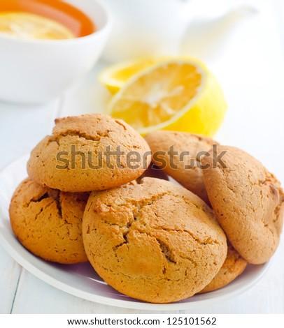 Sweet cookies with fresh tea - stock photo