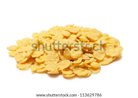 sweet cornflakes isolated on the white background