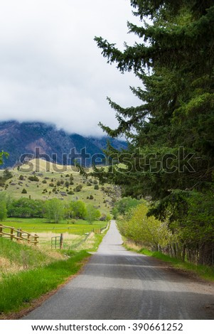 Sweet Country Road in Paradise Valley Montana  - stock photo