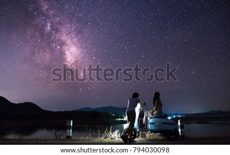 Sweet Couple On The Night Of Love There Are Stars And Milky Way In
