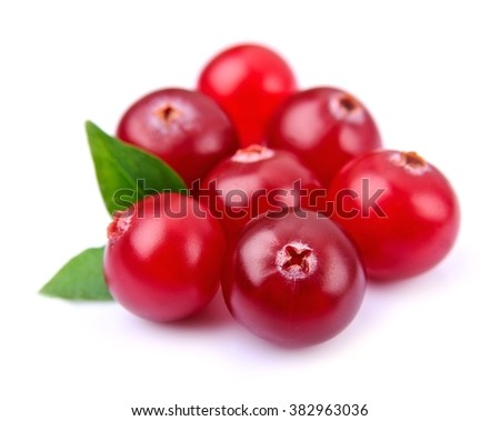 Sweet cranberries with leafs close up on white - stock photo