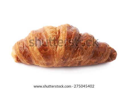 Sweet croissant pastry bun isolated over the white background