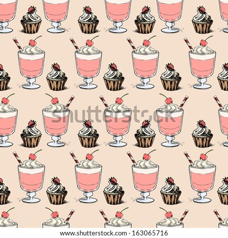 Sweet cupcakes and milkshakes background. Seamless sketch pattern - stock photo