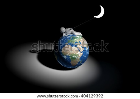 sweet 3d human holds the moon - Europe, Africa, Middle East version - stock photo
