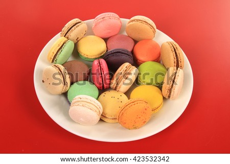 sweet delicacy, macaroons variety  - stock photo