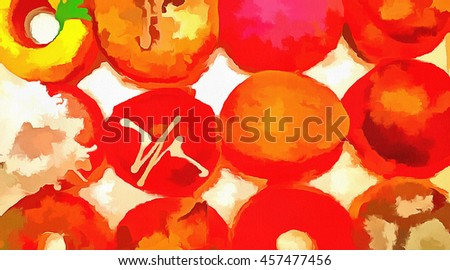 Sweet delicious donuts of different colors in stock. Illustration - stock photo