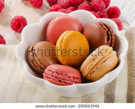 Sweet dessert - Colorful macaroons . Selective focus - stock photo