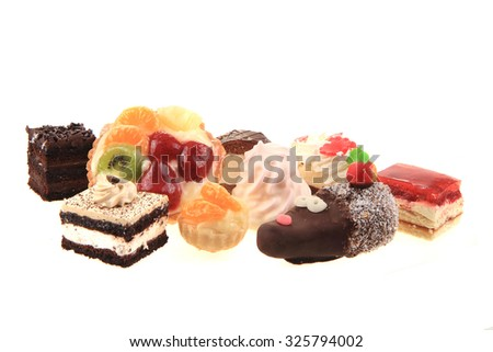 sweet desserts isolated on the white background - stock photo
