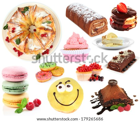 Sweet desserts isolated on white - stock photo