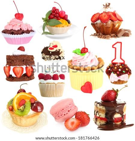 Sweet desserts isolated on white - stock photo