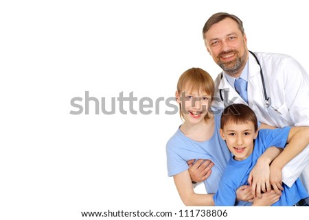 Sweet doctor is receiving visitors in his office