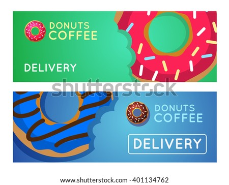 Sweet donut with coffee. Donut on table. Dinner on a donut at the coffee shop. Colored donuts with espresso. Donut coffee.