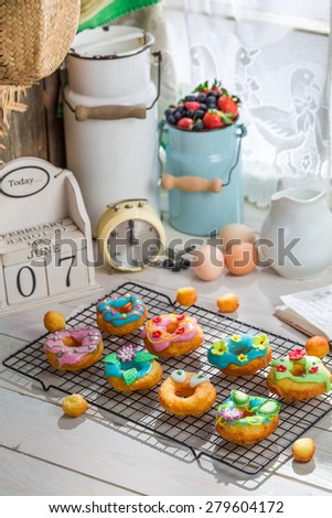 Sweet donuts made of fresh ingredients - stock photo