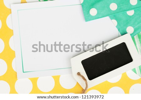 sweet dotted background card with label for your text - stock photo