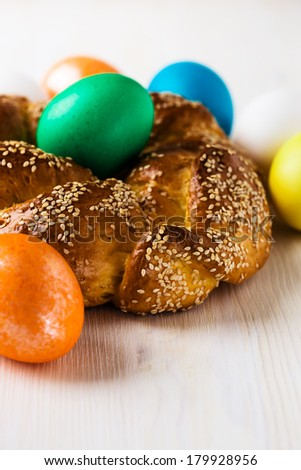 Sweet Easter bread on Easter background