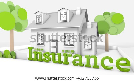 Sweet family house  with the title insurance - stock photo
