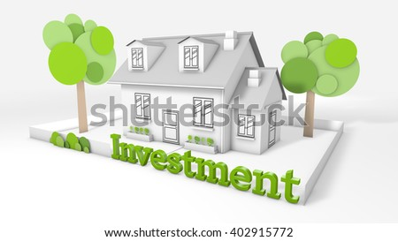 Sweet family house  with the title investment - stock photo