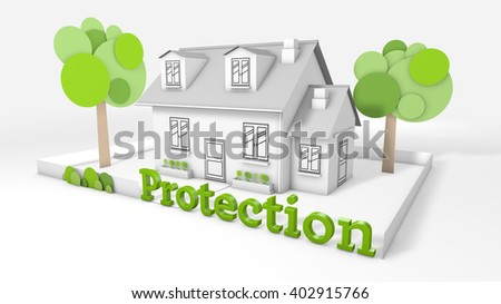 Sweet family house  with the title protection  - stock photo