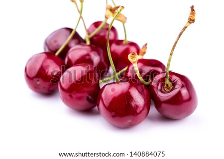 Sweet fresh cherry isolated on white background