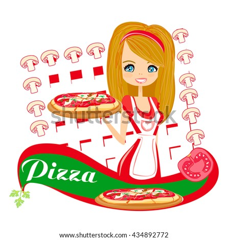 sweet girl serving pizza  - stock photo