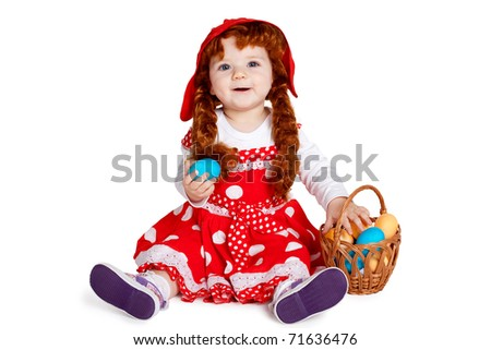 sweet girl with easter eggs - stock photo