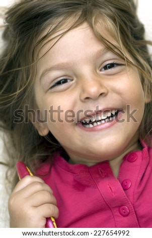 Sweet girl with tooth brush  - stock photo