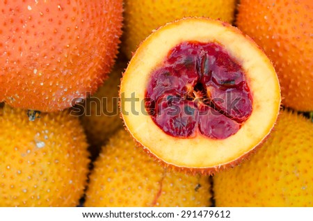Sweet gourd, tropical fruits display at the market. - stock photo