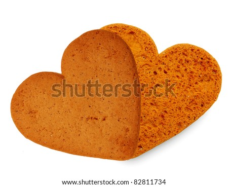 Sweet heart, two cookies isolated on white