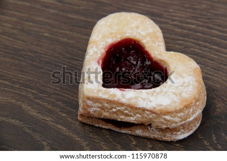 Sweet hearts on a wooden background