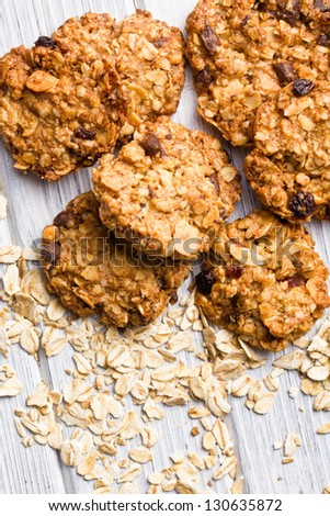 sweet homemade cookie with oat flakes - stock photo