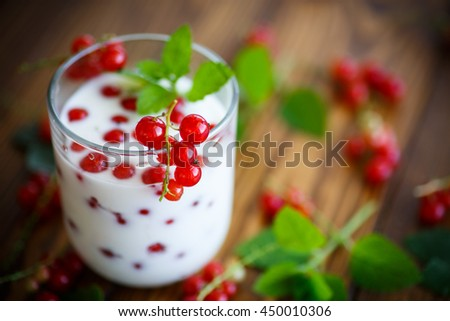 sweet homemade yogurt with red currants - stock photo