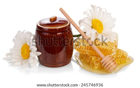 Sweet honey and honeycomb with flower and dipper - stock photo