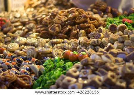 Sweet Honey in the Middle East markets - stock photo