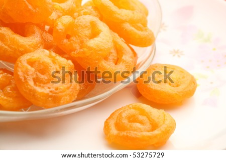 Sweet Indian jalebi in a plate