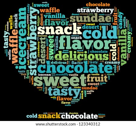 sweet info-text graphics and arrangement concept on black background (word cloud) - stock photo