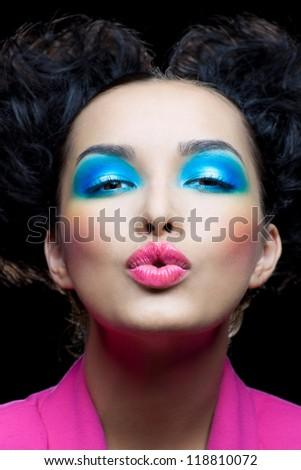 Sweet kiss the pretty girl - stock photo