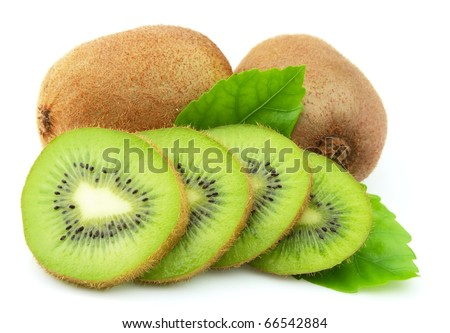 Sweet kiwi with leaves on a white background - stock photo