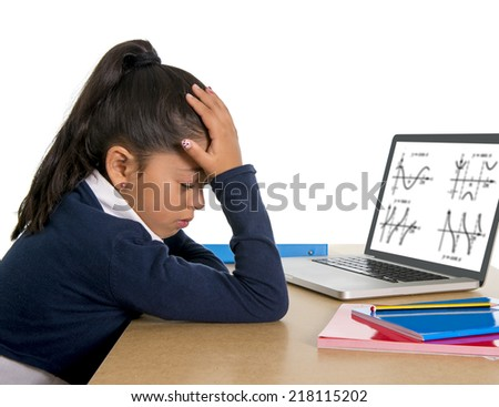 sweet latin little school girl with ponytail bored and tired with computer maths homework and studying in children education concept isolated on white background - stock photo