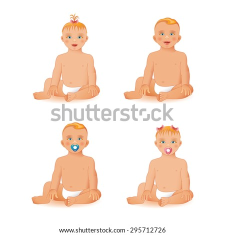 Sweet little baby girl and baby boy sitting and smiling, isolated on white background.