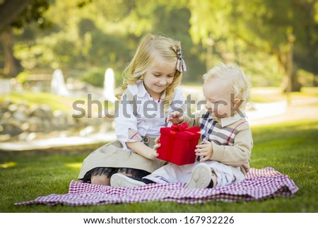 Sweet Little Girl Gives Her Baby Brother A Wrapped Gift on a Picnic Blanket Outdoors at the Park.  - stock photo