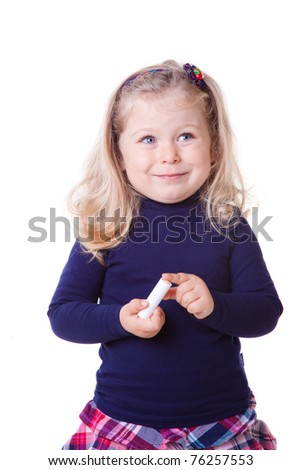 sweet little girl with lipstick - stock photo