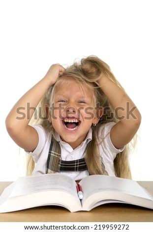 sweet little schoolgirl pulling her blonde hair playing in stress getting crazy while doing homework in children education concept isolated on white background - stock photo