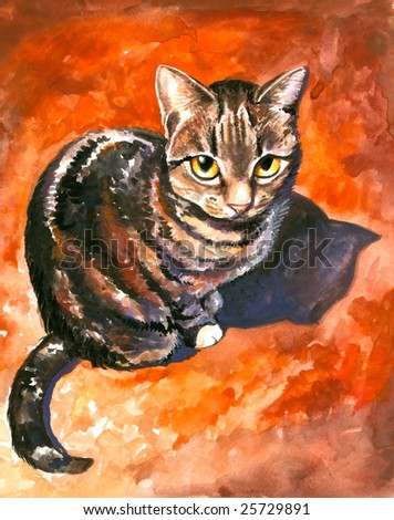 Sweet looking cat watercolor painted.Picture I have created myself.