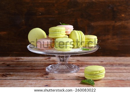Sweet macaroons on a stand, dessert - stock photo