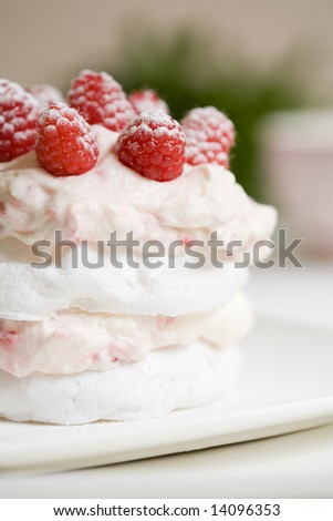 Sweet meringue delicious dessert with raspberry cream - stock photo