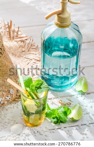 Sweet mojito with citrus fruit