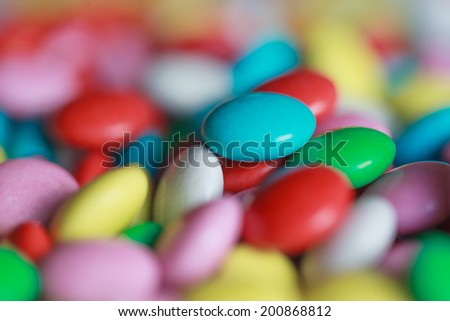 sweet multicolor candy, close up, selective focus - stock photo
