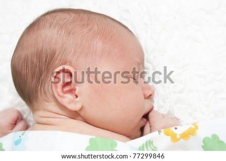 Sweet newborn baby - stock photo