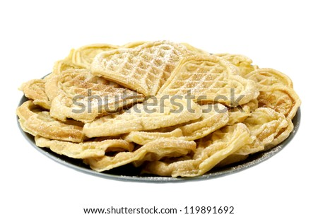 Sweet Norwegian waffles isolated on white background - stock photo