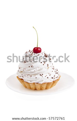 sweet, nourishing cake on white background